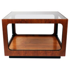 Pair of Lane Walnut and Smoked Glass Side Tables
