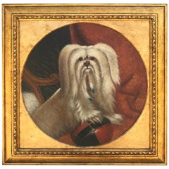 Antique Dog Portrait, Maltese with a Bocce Ball