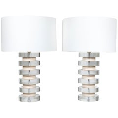 Monumental Pair of Stacked Lucite Lamps in the Style of Karl Springer