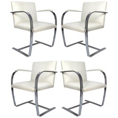 Mies Van Der Rohe, Knoll Flat Bar Brno Chairs, Eggshell White Leather, Set of 4