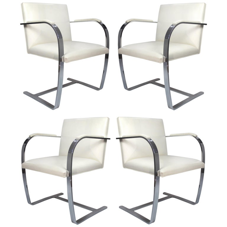 Surprising Mies Van Der Rohe Knoll Flat Bar Brno Chairs Eggshell White Leather Set Of 4 Ibusinesslaw Wood Chair Design Ideas Ibusinesslaworg