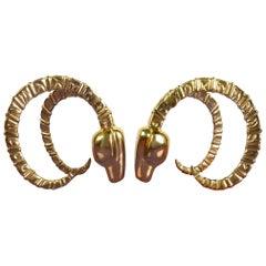 Hollywood Regency Brass Horned Ibex Sculpture Bookends by Dobi Cashier