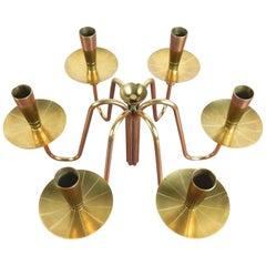 Hollywood Regency Tommi Parzinger Design Brass Lotus Candelabra Centerpiece