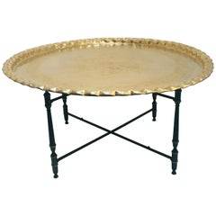 Moroccan Brass Tray Table on Metal Folding Stand