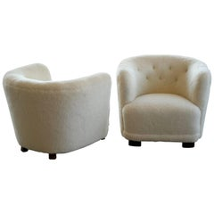 Danish 1940s Pair of Viggo Boesen Style Lounge or Club Chairs in Lambswool
