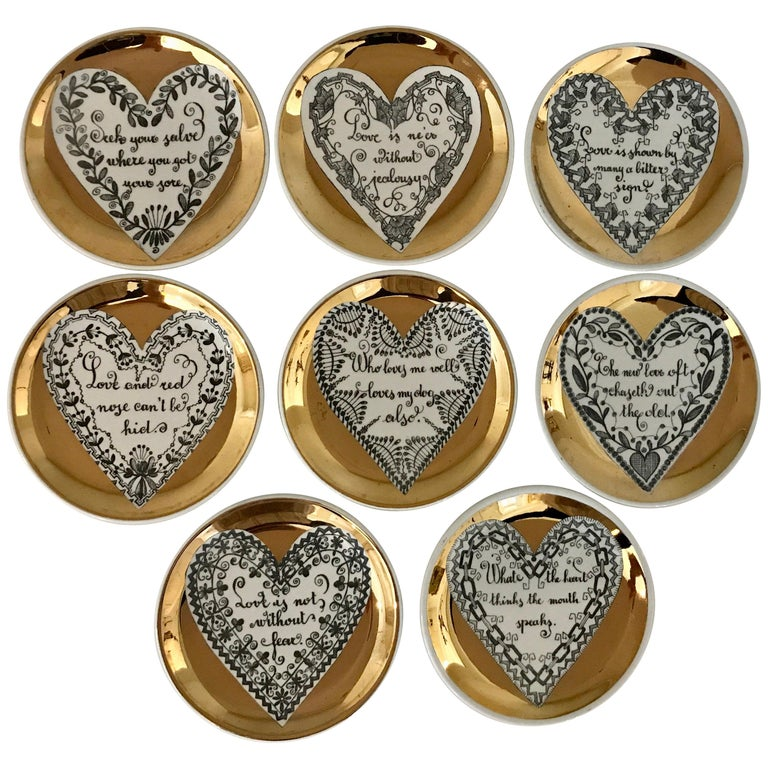 Set of Eight LOVE Fornasetti Coasters