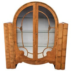 Art Deco Walnut Display Vitrine Cabinet, circa 1930s