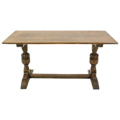Antique Oak Table, Tiger Oak Farm House Refectory Table, Scotland, 1920s