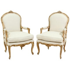 French Louis XV Style Carved Painted Armchairs, a Pair