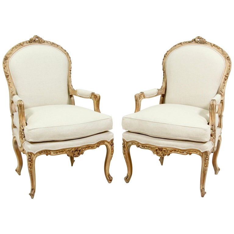 French Louis XV Style Carved Painted Armchairs, a Pair For Sale
