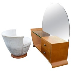 Art Deco Modernist Dressing Table and Stool, circa 1930