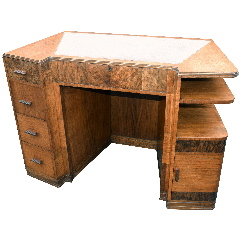 English Art Deco Walnut Desk, circa 1936