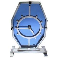 English 1930s Art Deco Blue Glass and Chrome Modernist Clock