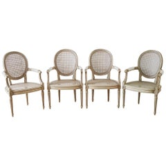 Set of Four Louis XVI Gustavian Style Dining Chairs