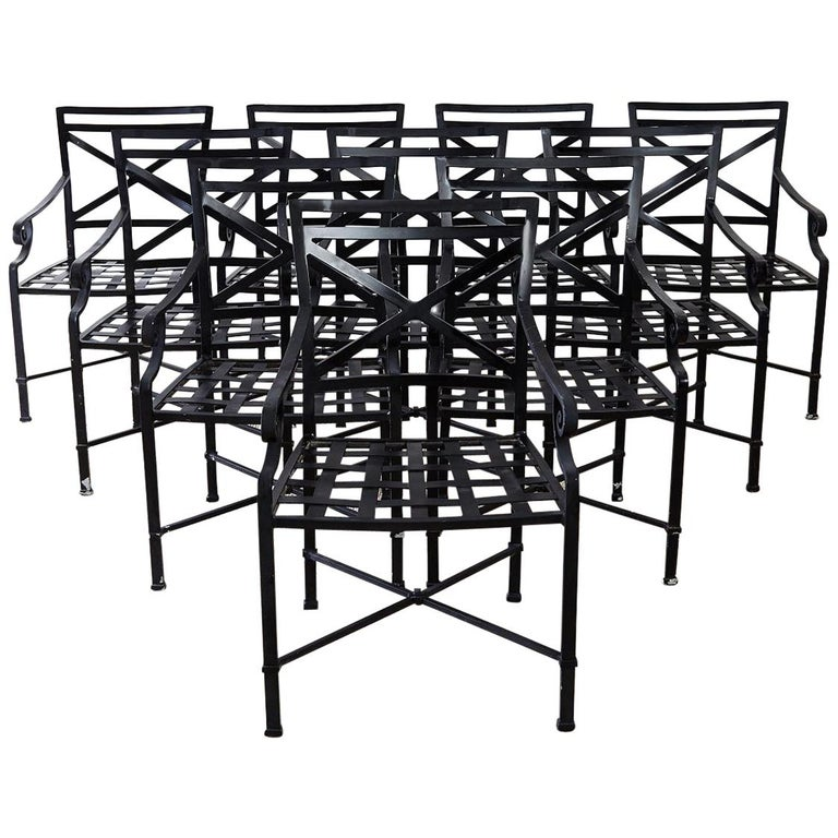 Set of 10 Neoclassical Style Aluminum Patio Garden Chairs For Sale