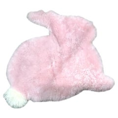 Bunny Rabbit Nursery Rug Pink Sheepskin with Long Wool Pompom Tail
