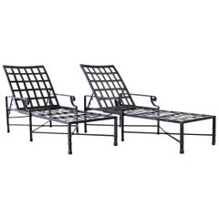 Pair of Neoclassical Style Aluminum Garden Chaise Lounges