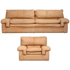 Roche Bobois Sofa and Armchair in Nude Leather with Natural Finish, circa 1980s