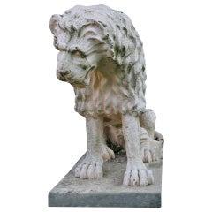 Lion Statue Renaissance Style 'A. Canova Style' France Mid-20th Century