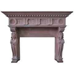 Embassy-Quality Fireplace Renaissance Caryatid Statues, Dated 1895, France
