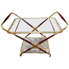 Sophisticated Folding French Drinks Trolley-Brass, Wood and Mirror