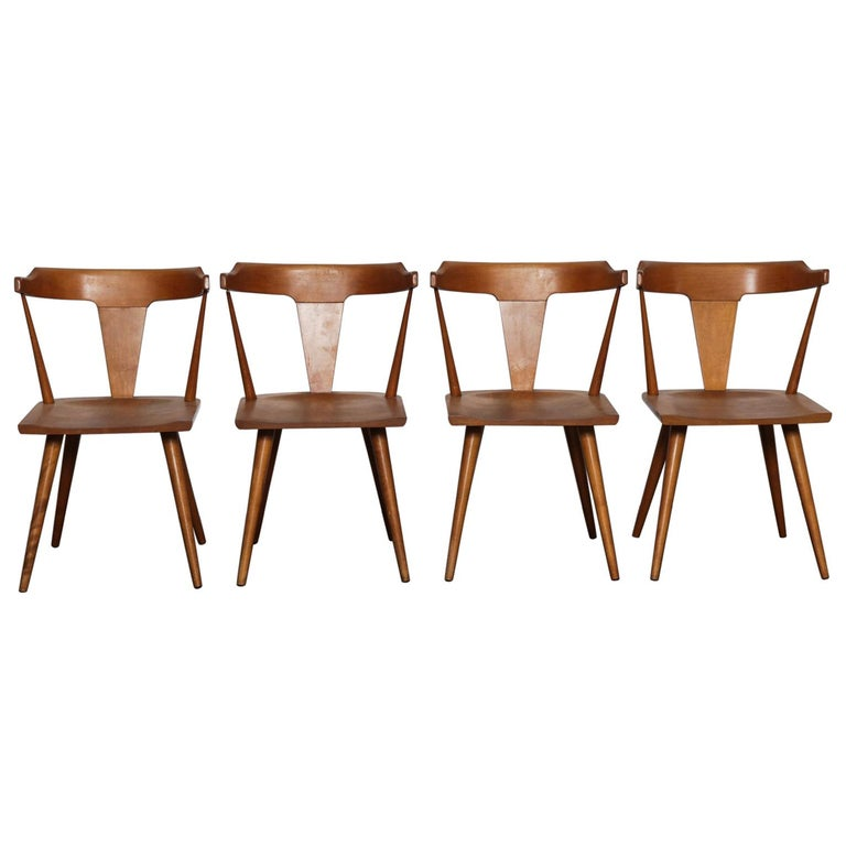 Set of 4 Paul McCobb Planner Group Series Spindle Back Dining Chairs For Sale