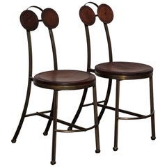 Pair of Solid Solid Bronze and Freijo Wood Side Chairs Pedro Useche, Brazil