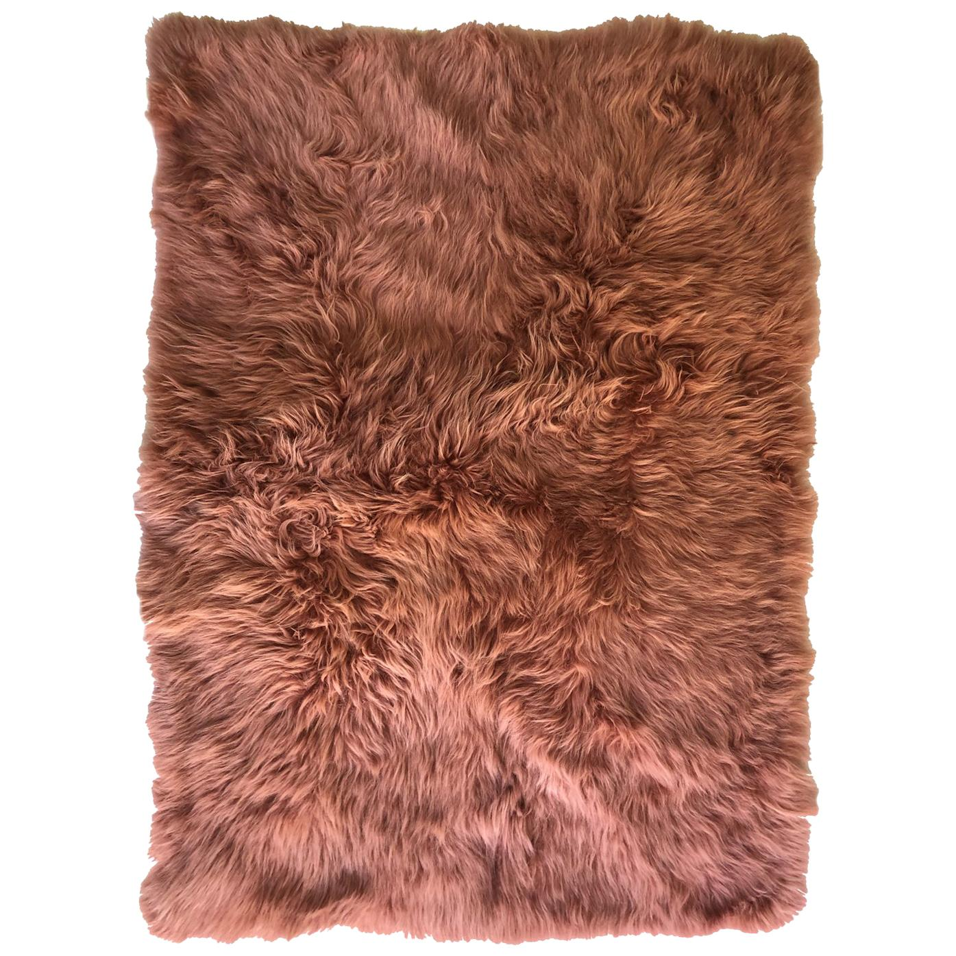 Pink Rust Cashmere Fur Chair Sofa Throw Blanket
