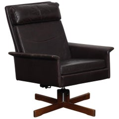 Fredrik Kayser Tall Back Swivel Chair in Original Brown Leather, Norway