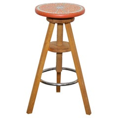 Adjustable Stool from Finland with Mosaic Tile Seat by Designer Martin Cheek