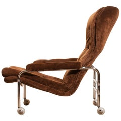 Chrome and Brown Velours Fabric Lounge Chair by Scapa Rydaholm, Sweden
