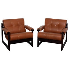 Pair of Percival Lafer MP-167 Leather and Jatoba Lounge Chairs, Brazil, 1970s