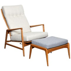Ib Kofod-Larsen for Selig Tall Back Recliner and Ottoman in Solid Beech