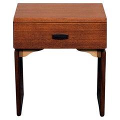 "G Plan 'Quadrille Series"" Sleigh Leg Teak End Table with Drawer"