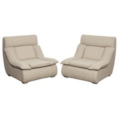 Futuristic Pair of Plush Upholstered Brazilian Midcentury Lounge Chairs