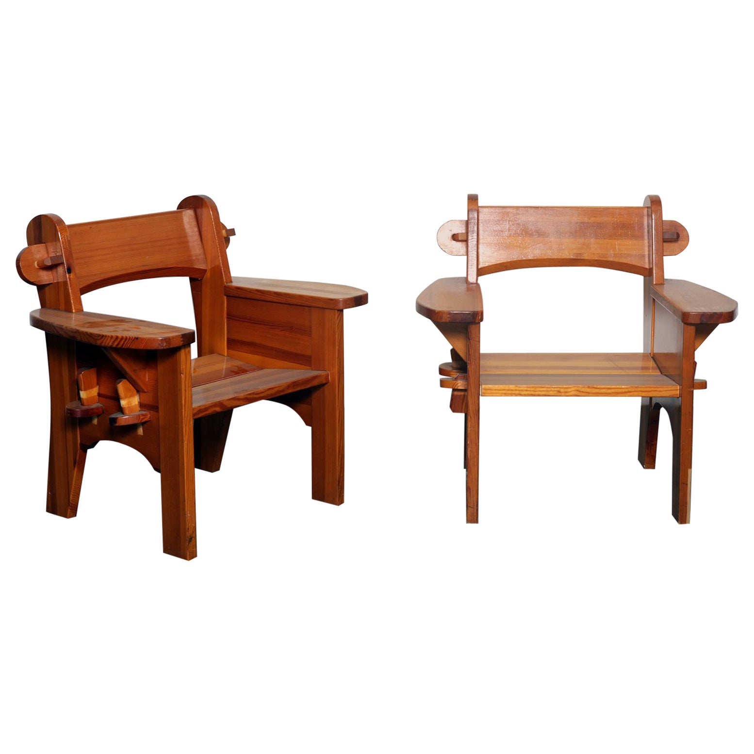 Pair of Solid Pine 'Berga' Chairs by David Rosen for Nordiska Kompaniet, Sweden