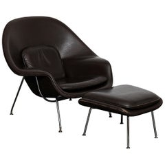 Original Leather 'Womb' Chair by Eero Saarinen for Knoll
