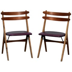 Poul Volther Oak and Teak Side or Dining Chairs, Denmark, 1950s