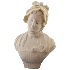 Bust of a Lady, Marble, Signed, 19th Century