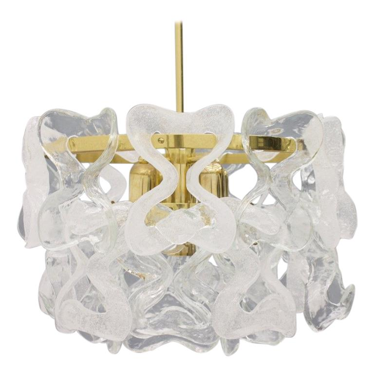 Rare Kalmar Austria Catena Chandelier in Brass and Glass, 1960s For Sale