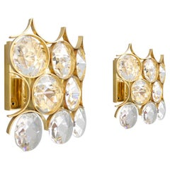 Pair of Palwa Wall Sconces Crystal Glass and Gilded Brass, Germany, 1960s