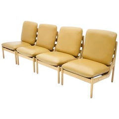 Slipper Lounge Chairs in Oak and Leather Made by CFC Silkeborg, Denmark, 1968