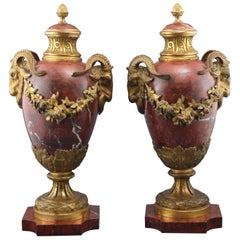 Pair of Ornamental Urns, Rouge Griotte Marble and Bronze, 19th Century
