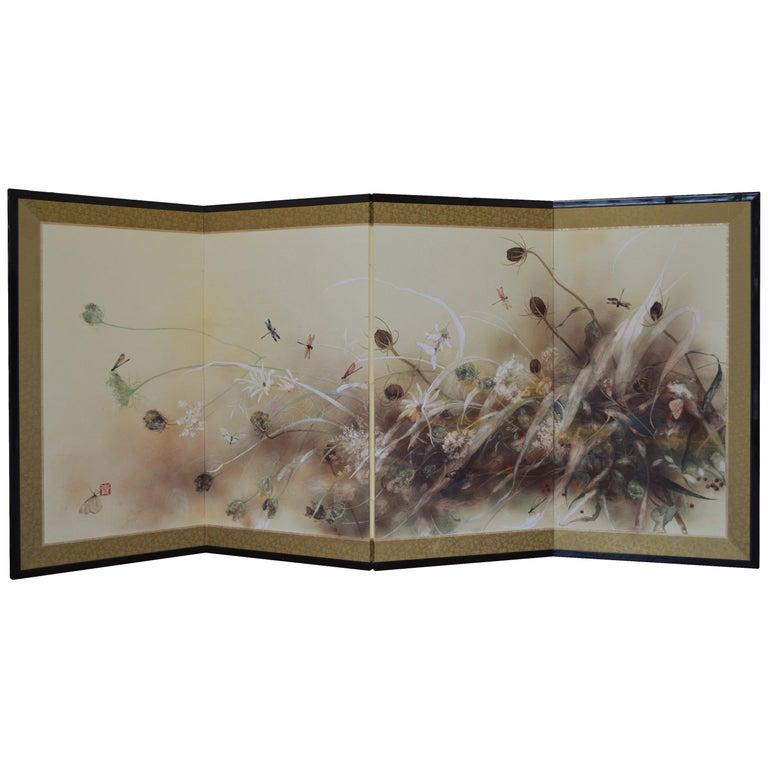 Danse, Hand Painted Nihonga Screen For Sale