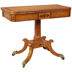 19th Century Late Regency Period Satinwood and Ebony Inlaid Pedestal Card Table