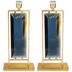 Alberto Donà Mid-Century Modern Blue Italian Murano Pair of Table Lamps, 1975