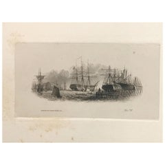 Proof of an American Bank Note, Harbour View with Sailing Ships, 57, circa 1870