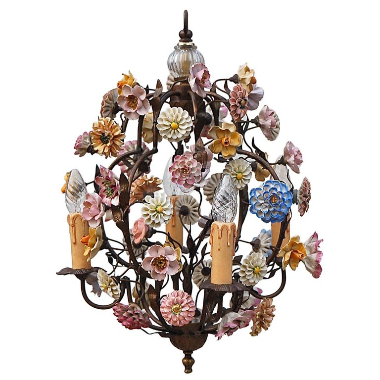 Italian Porcelain Flower Chandelier, 1950s For Sale