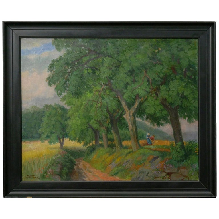 """Figures Working the Field"" Antique Oil Landscape Painting by Johannes Lippmann For Sale"