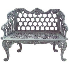 New Green Cast Aluminum Two Seats Garden or Park Bench